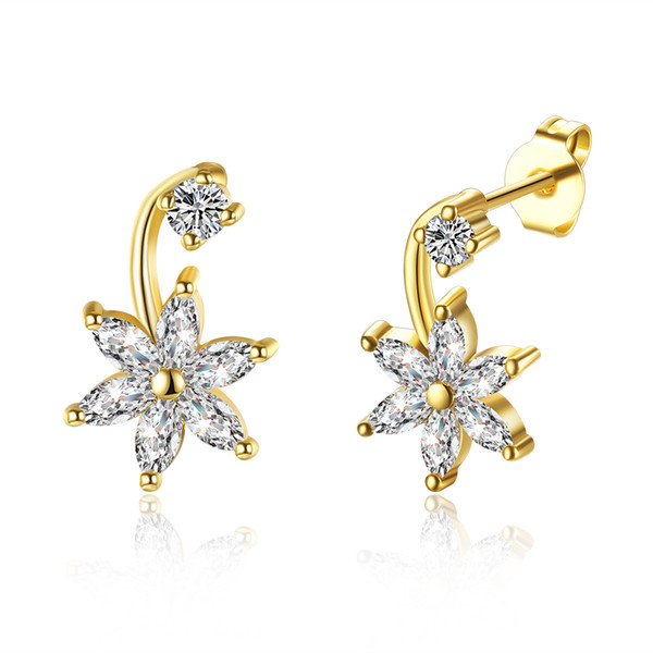 Classical Platinum Plated/ Gold Plated Front Back Flower Cubic Zirconia CZ Drop Earrings Ear Jacket Cuff Earrings Set for Women