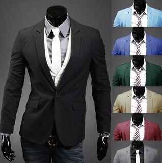 Chaqueta para hombre de negocios de moda Slim Fit Chaqueta Trajes Casual Abrigo con cuello en V de 8 colores M-XXL Chaqueta de algodón de manga larga de un solo botón