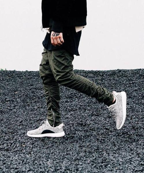 Wholesale-Justin Bieber marchio laterali stile della chiusura lampo degli uomini sottili del Mens casuali fit hip hop pantaloni della tuta pantaloni da biker jogger refurtiva pantaloni skinny d'oliva