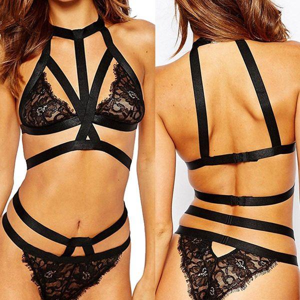 top popular Sexy Bralette Crop Tops Bras Sets Women Lace Camisole Vest Bandage Ultrathin Bra Crop Tops Vest Strappy Bra Panty briefs Lingerie Underwear 2021