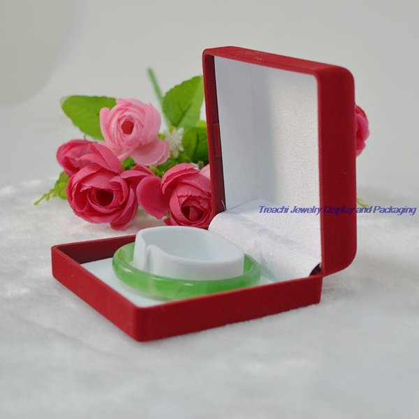 Free Shipping Retail Quality Square Red Velvet Wedding Jewelry Bracelet Box Bangle Storage Casket with Circle inside