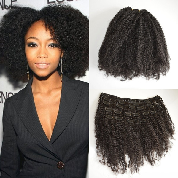 2017 Best Selling Mongolian Virgin Remy Hair Hair Afro Kinky Curly Clip In Human Hair Extensions Full head Set 7pcs a set G-EASY