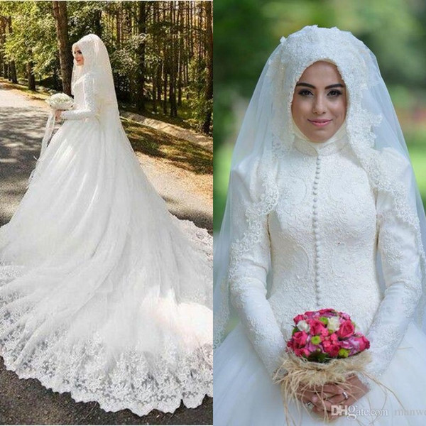 Muslim Wedding Dresses 2016 Latest Full Lace High Neck Long Sleeves Buttons Applique Chapel Bridal Gowns Arabic Islamic Custom Made En6026 Best