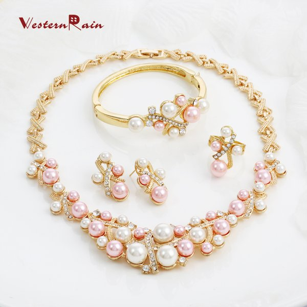 WesternRain Free shipping Fashion Pink Pearls Costume Jewelry Ladies Artificial Pearl Necklace Set New Product 2016 Gold plated jewelry A062