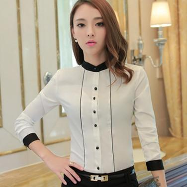 Fashion 2016 Women casual tops patchwork design Long Sleeve Chiffon Shirt Blouse Simple spring autumn women's plus size blusas chemise femme