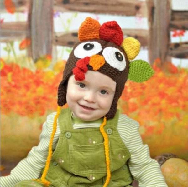Thanksgiving infant Turkey hats Woolen Winter Knitted Hats Warm Hedging Caps cartoon Hand Crochet Caps top quality