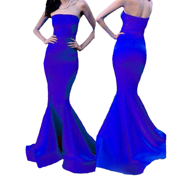 Vintage Mermaid Evening Dresses Strapless Sweep Train Women's Bodycon Party Dresses Cheap Long Bridesmaid Dresses 2018