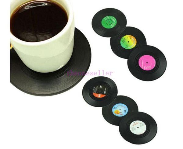 New Fashion 6pcs/Set Spinning Retro Vinyl CD Record Drinks Coasters / Vinyl Coaster Cup Mat