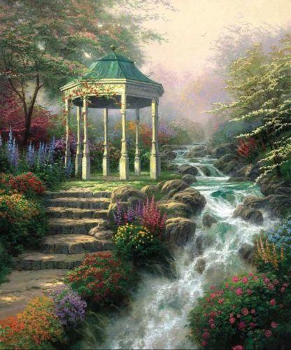 Framed pavilion plants river road,Free Shipping,Pure Hand-painted Landscape Art oil painting Multi sizes Available Free Shipping