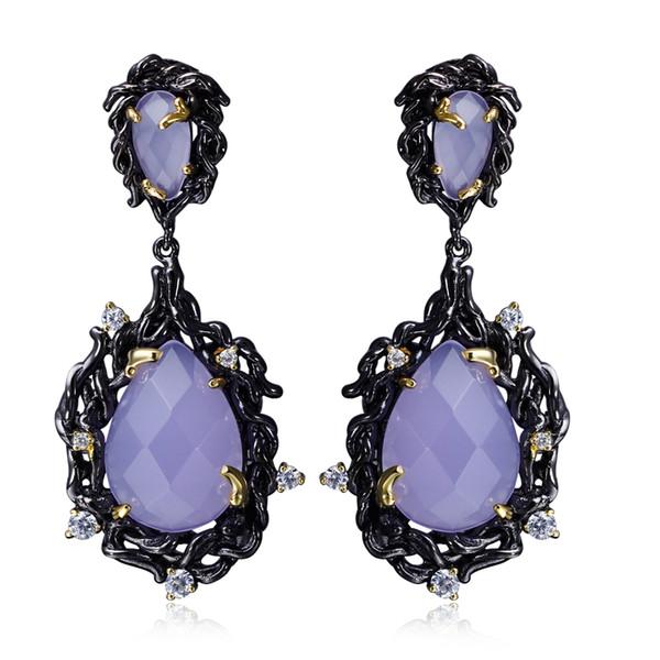 Large Teardrop Crystal Purple Stone Long chandelier earring In Black Gold plated Big Classic Earrings