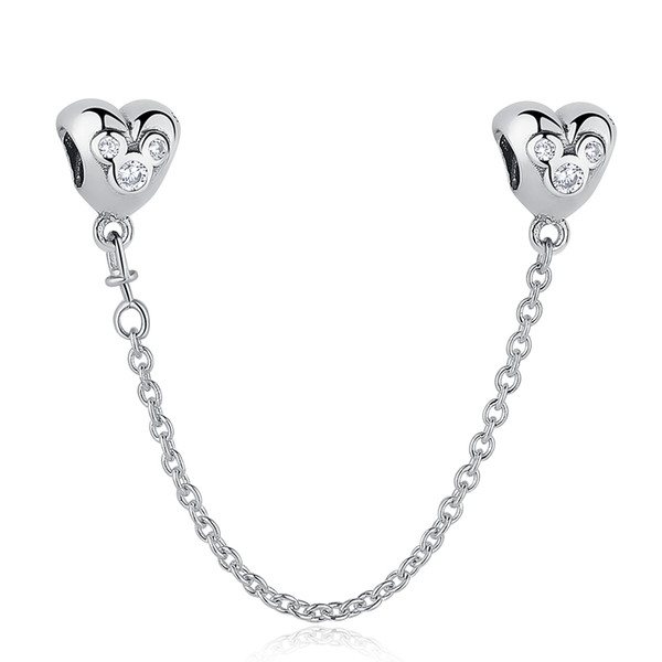 BELAWANG 925 Sterling Silver Heart Shape Safety Chain Cartoon Charm Beads with Clear CZ fit Pandora Charm Bracelet DIY Jewelry Making
