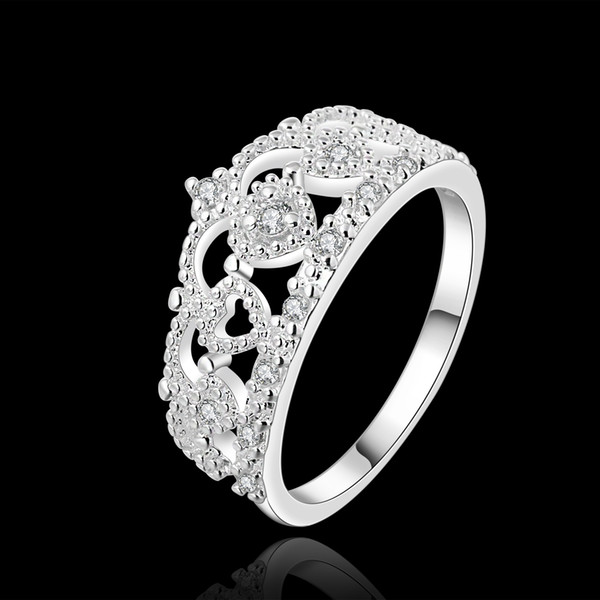 2017 Classical Crown Wedding Rings With Gift Box Queens Silver