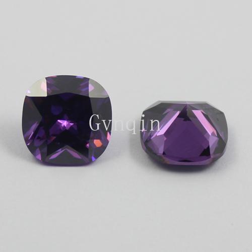 free shipping 100pcs/lot cubic zirconia purple square cushion cut loose amethyst gem stones