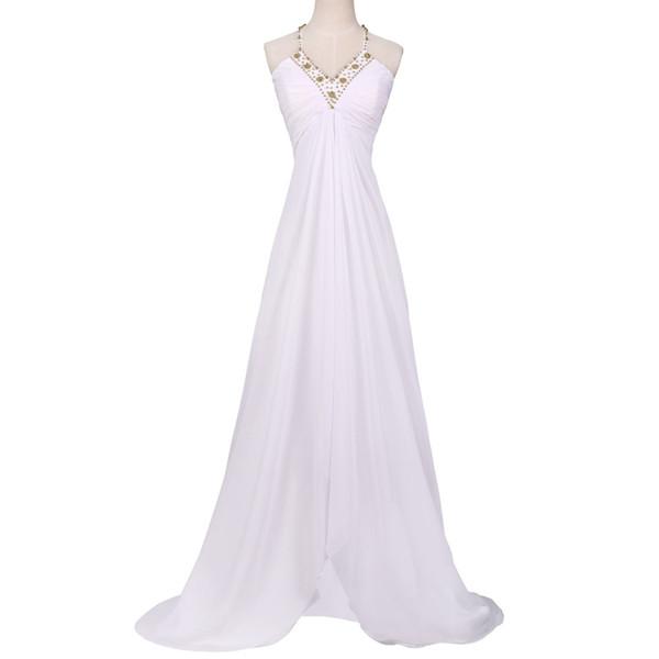 2019 el más nuevo atractivo blanco largo vestidos de baile gasa con cuentas vestido de fiesta partido delantero profundo cuello en V ver a través de nuevo vestido de noche barato