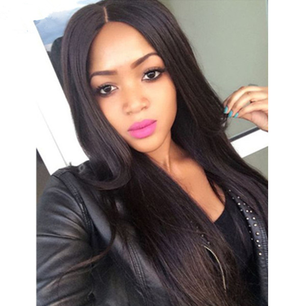Middle Part Silky Straight Lace Front Human Hair Wigs Virgin Indian Human Hair Glueless Full Lace Long Wigs 130% Density Bleached Knots