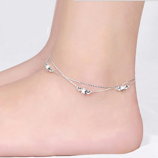 Anklets Silver Lucky Star Anklet Bracelet Hot Sale Link Chain Anklets For Women Girl Foot Bracelets Jewelry Wholesale Free Shipping 0341WH
