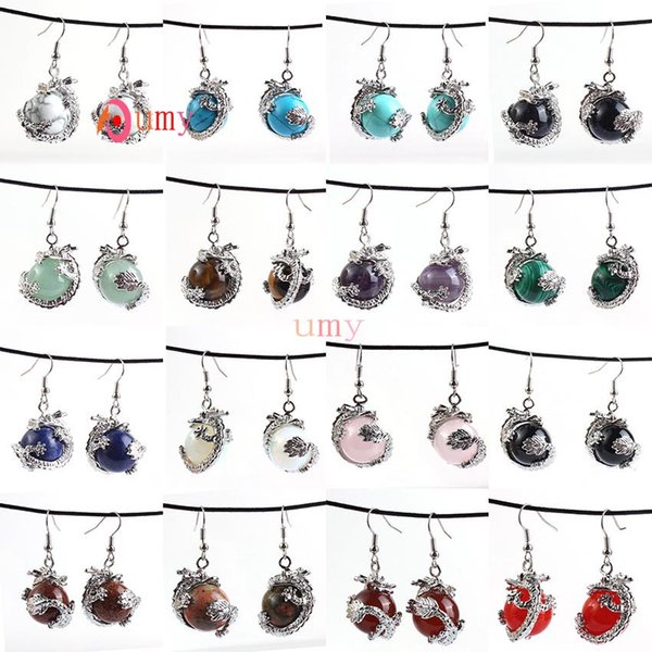 Wholesale 10Pair Vintage Design Mixed Order Quartz Round Beads Inlay Chinese Style Dragon Drop Earrings Charm Jewelry