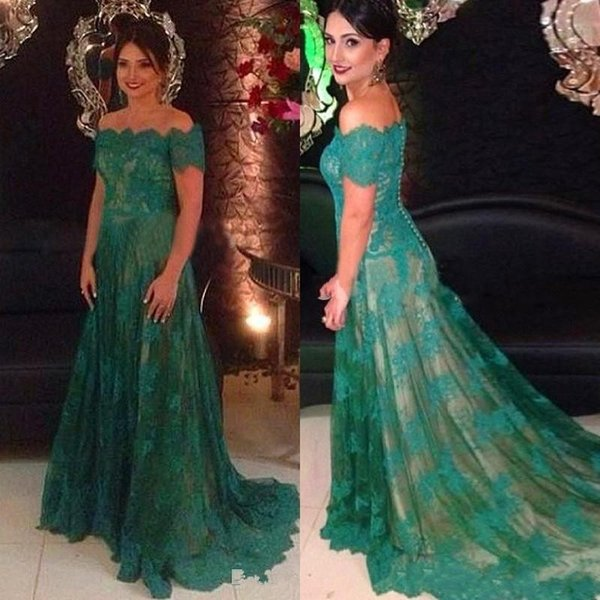 best selling New Green Off Shoulders Evening Dresses Lace Long A line Special Occasion Short Sleeve Court Train Party Maxi Modest Celebrity Dresses