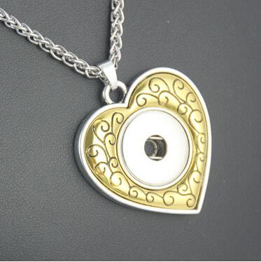 10 pcs fashion heart snap necklace fit for 18-20 mm snap button, nickel and lead free