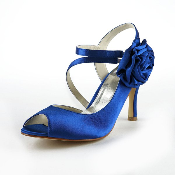 Satin 8cm Heel Blue Color Pump Elegant Style Women Bridal Shoe Wedding Dress Shoes Handmade Shoe for Wedding With Rhinestones