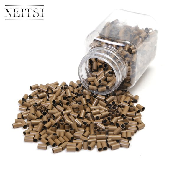 Best Quality Neitsi 500pcs/lot Micro Ring Copper Beads for Hair Extensions Straight Mini Locks Copper Tube Micro Beads Brown#