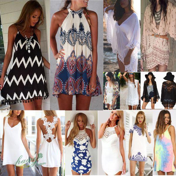 55eb38a7791fa 2016 Dress For Women BOHO Ladies Sleeveless Party Tops Womens Summer Beach  Swing Dress women s