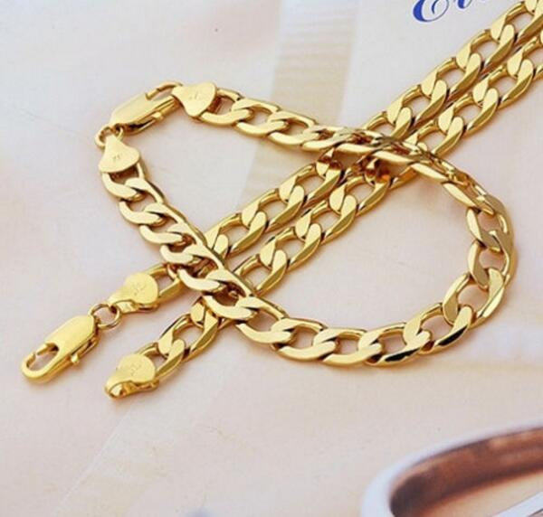 """2016 New 24K YELLOW GOLD FILLED MEN'S NECKLACE BRACELET 24""""Solid CURB CHAINS GF JEWELRY WIDE 8MM 10MM 12MM"""