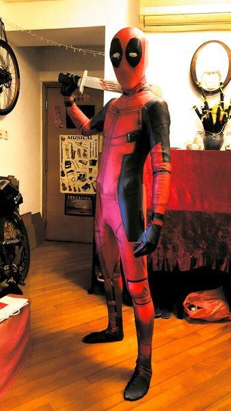 2016 Newest Halloween Cosplay Deadpool Costume Adult 3D Printing with Deadpool Eye Mask Waist Bag Belt Lycra Zentai Suit Custom Made
