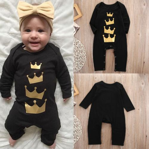 2016 new arrival bodysuit Cotton Newborn Baby Girl Boy Long Jumpsuit black queen imperial crown funny logo printed Romper Outfits Clothes