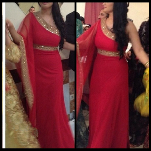 2016 New Listing One Shoulder Arabic Muslim Evening Dresses Chiffon Long Red Indian Dresses Formal Prom Party Gowns