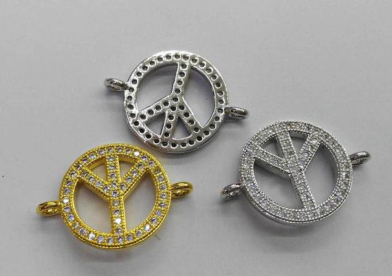 Assorted CZ Micro Pave Diamond paved spacer beads Jewelry findings Micro Pave Brass Peace Disc Roundel Button Connector beads earrings