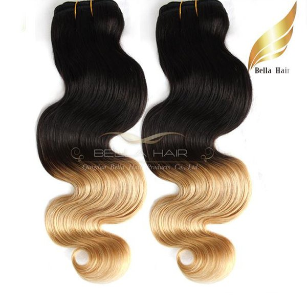 """Ombre Human Hair Weaves Dip Dye Two Tone #T1B/#27 Color 14""""-26"""" 3PC Malaysian Hair Body Wave Wavy Bellahair 8A"""