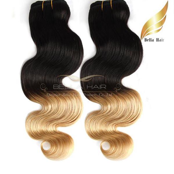 El cabello humano de Ombre teje Dip Dye Two Tone # T1B / # 27 Color 14