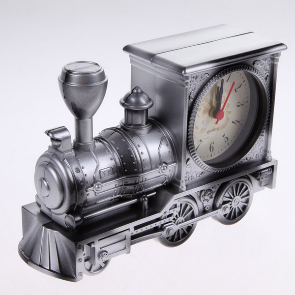 Free Shipping Men Retro Train Office Desk Alarm Clock Birthday Xmas creative Novelty Gift Home Decor Christmas GiftsE5M1# order<$18no track