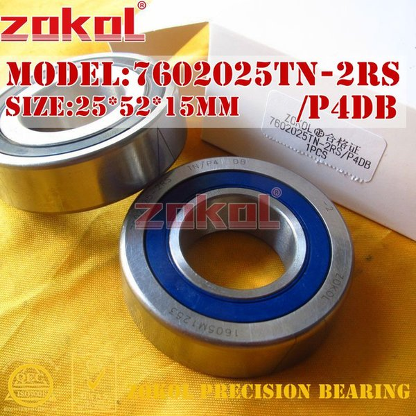 ZOKOL bearing 7602025 TN 2RS P4 DB C 760205 2RSDB Axial Angular Contact Ball Bearing 25*52*15mm