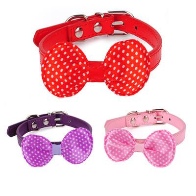 Fashion Pet Leather Collar Dog Cat Neckerchief with Big Bowknot Puppy Scraf Collar PU Material Size XS