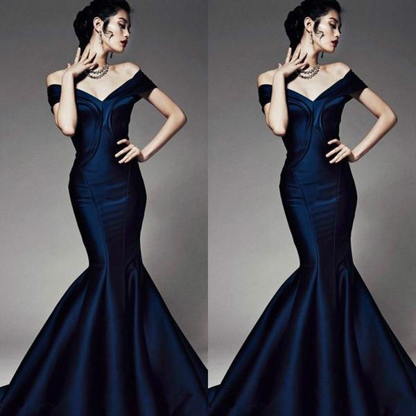 Modest cetim off ombro sereia vestidos de noite azul marinho da arábia saudita vestidos de festa party dress prom pageant formal vestidos de celebridades