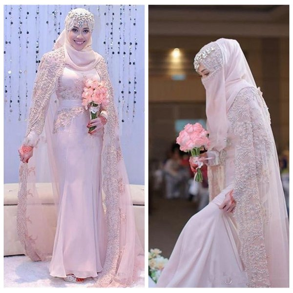 2017 Beautiful Muslim Arabic Mermaid Chiffon Wedding Dresses High ...