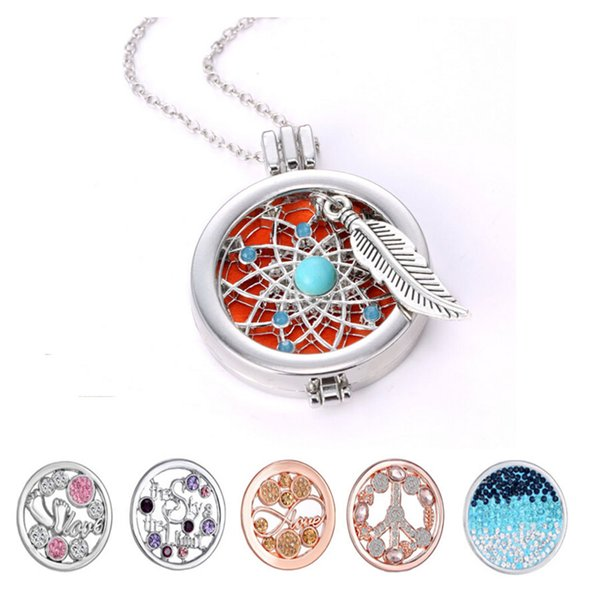 top popular Locket Necklaces DIY Coins Angle Wing Locket Pendant Aromatherapy Essential Oil Diffuser Necklace 2019