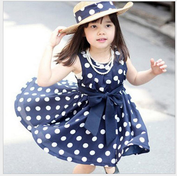 hot summer dress sleeveless kids clothes dot girl dress cute sweet baby girl clothes pretty sashes - Sweet Baby Girl