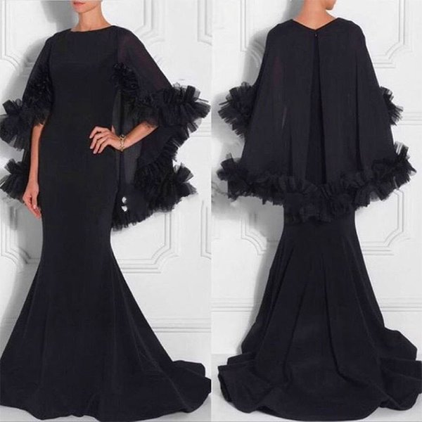 New Design Middle East Black Kaftan Dress 2017 Elegant Mermaid Long Evening Dress with Cape Dubai Prom Dresses Saudi Arabia Party Dress