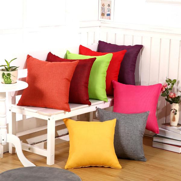 Classical Plain Color Sofa Pillow Covers Cotton & Linen Cushion