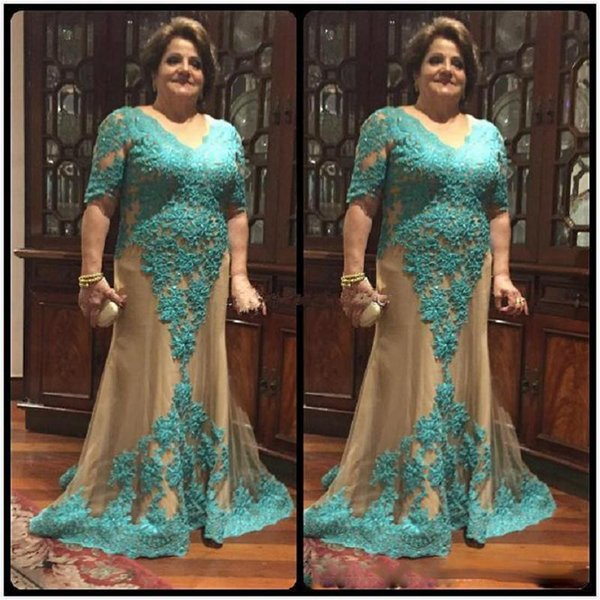 Plus Size Mother Of The Bride Dresses With Sleeve V-neck Sheath Maxi Women Mint Green Lace Evening Party Gowns For Lady 2018