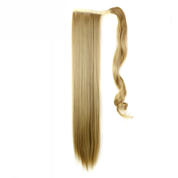"2017 I's a 24"" 110g 10 Colors High Temperature Fiber Straight Hairpieces Synthetic Wraparound Drawstring Ponytails for Women"