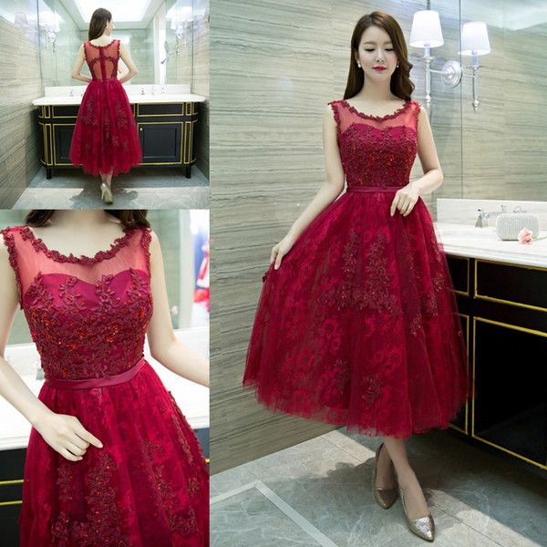 top popular Elegant Scoop Neck Party Dresses Ankle-length Wine Red Lace Zipper Back Tulle Homecoming Cocktail Evening Prom Dresses 2019