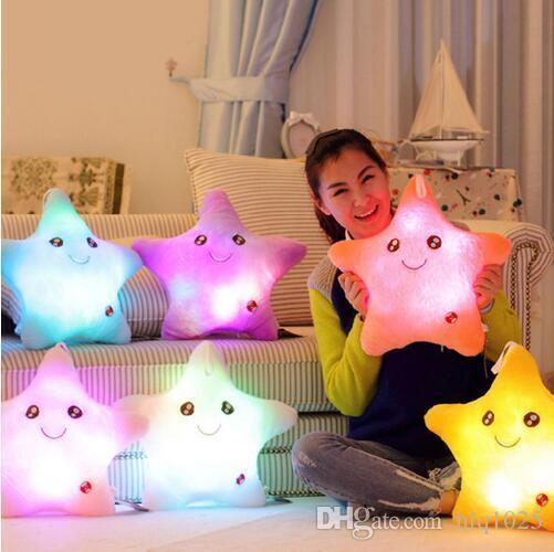 Il cuscino luminoso luminoso variopinto di Stella Glow LED Cojines Lovely Soft si rilassa il sorriso di Almofada che lampeggia i cuscini istantanei Trasporto libero