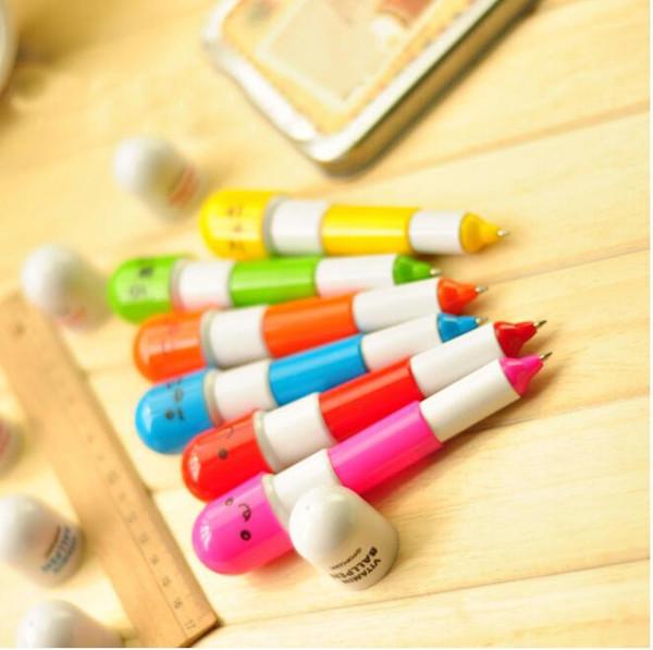 Hap Şekli Geri Çekilebilir Tükenmez Kalem Rollerball Kalemler Yaratıcı Kırtasiye çocuk Hediyeler