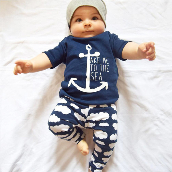 2016 Ins Baby Summer 2pcs Sets Kids Boys Short Sleeve Navy Boat Anchor Letters T-shirt+ Cloud Printed Pants Baby Summer Outfits