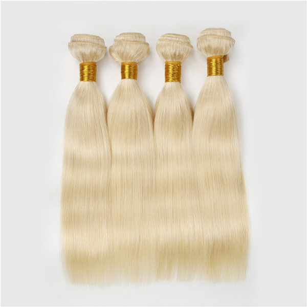 Stock Brazilian Blonde Human Hair 4Pcs Platinum Blonde Silky Straight Human Hair Blonde Weave 9A Brazilian Human Hair Bundles 613 Pure Color