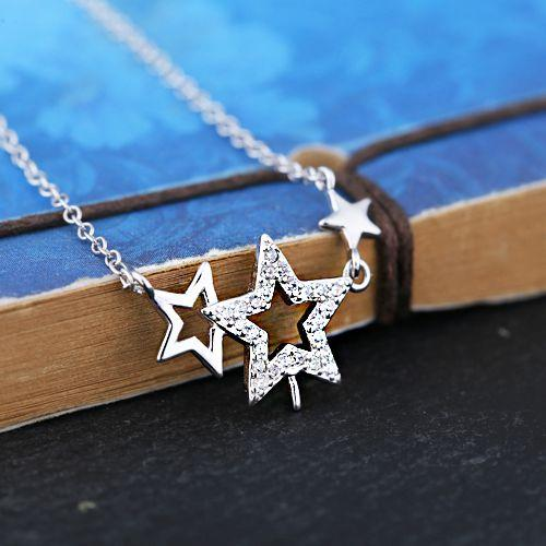 Sterling Silver 925 Plated White Gold Crystal Women Pendnat Necklace 7-9mm Pearl or Round Bead Semi Mount Trendy Stars Fit Pandora Style